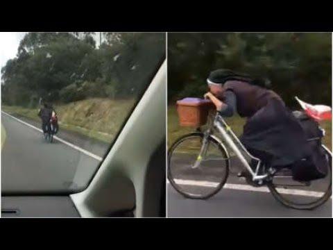 Βιαστική καλόγρια σε κατάβαση με ποδήλατο